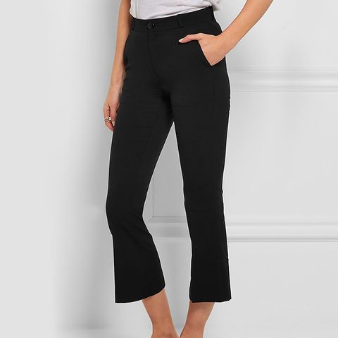 Vichy Cropped Stretch-Wool Crepe Flared Pants