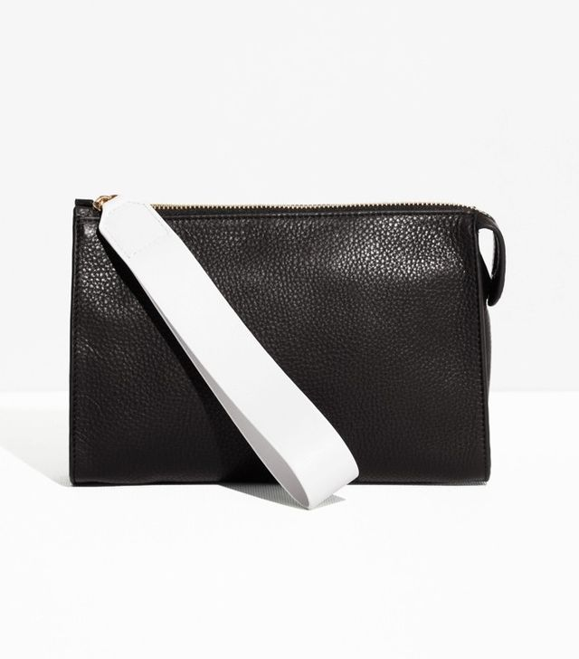 & Other Stories Grainy Leather Clutch