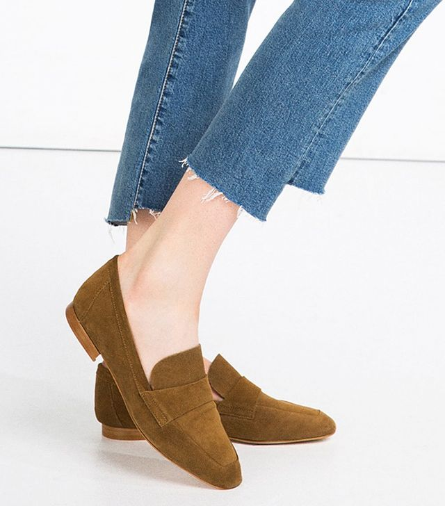 Zara Leather Penny Loafers
