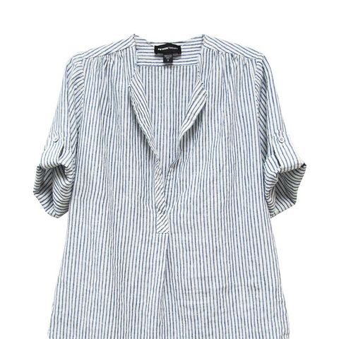 Frayed Neck Roll Tab Shirt