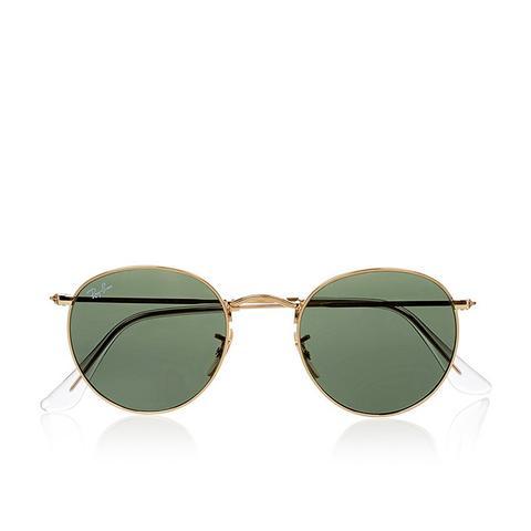 Round-Frame Gold-Tone Sunglasses