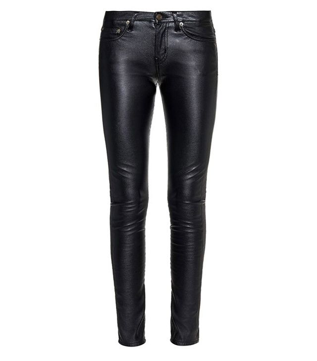 Saint Laurent Low Rise Skinny Faux-Leather Trousers