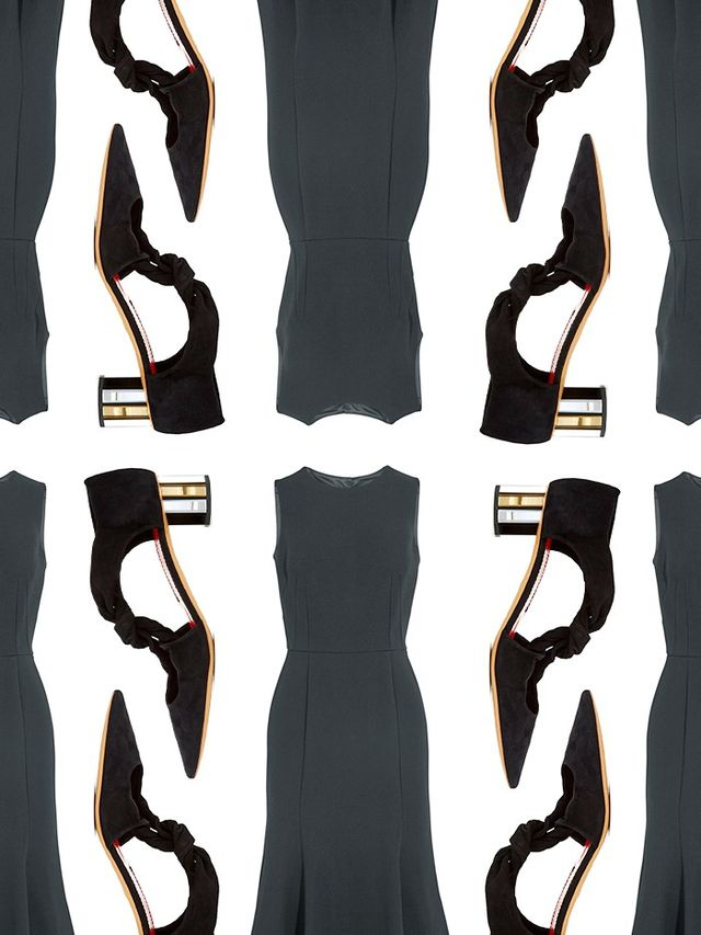 SHOP: Dolce & Gabbana Stretch-Crepe Midi Dress ($2695); Proenza Schouler Mirror-Heel Tie-Front Suede Pumps($767).