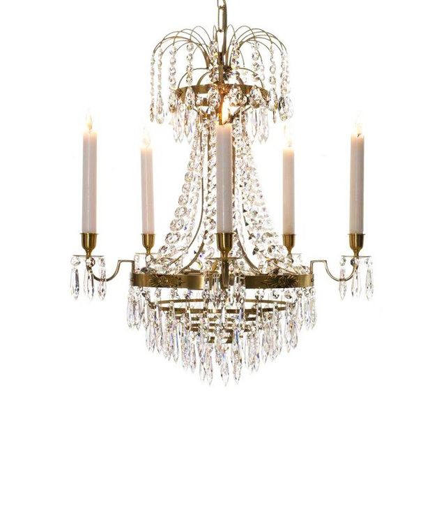 Gustavian Empire Brass Crystal Chandelier