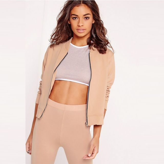 Missguided Jersey Bomber Jacket