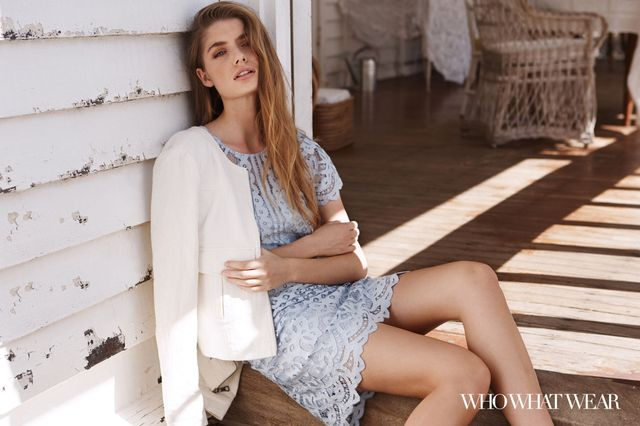 Next Cream Patch Jacket ($95), and Lace Dress ($83).