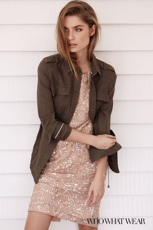 Next Shirt Jacket ($66), and Blush Sequin Dress ($147).