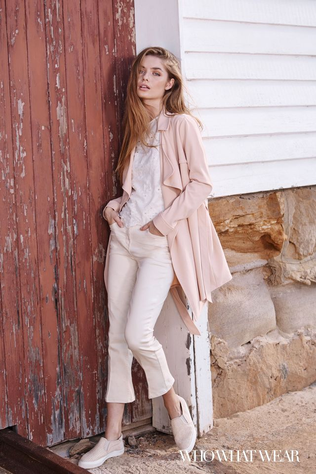 Next Peach Longline Jacket ($60), Embroidered Layer Top ($59), Couture Cropped Flare Jeans ($48), and Skater Shoes ($48).
