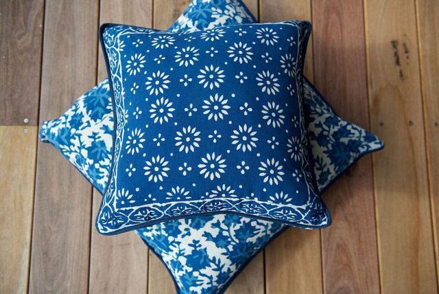Love Generation Handblock Printed Indigo Boho Cushion