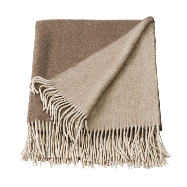 Linen and More Cashmere Mink/Stone Mix Throw
