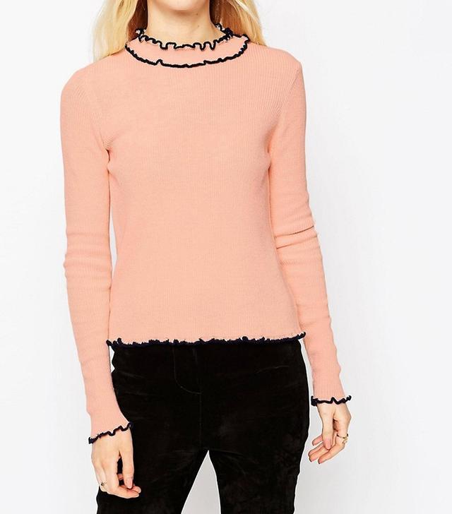 ASOS Rib Sweater With Ruffle Neck