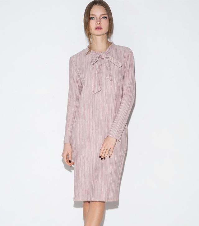 Pixie Market Mauve Pink Pleated Neck Tie Dress