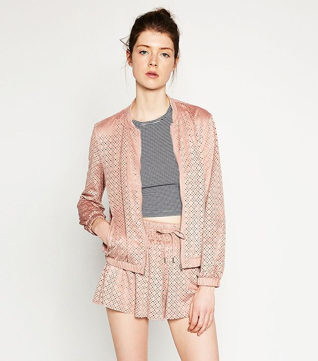 Zara Cut-Work Bomber Jacket