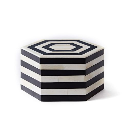 Black + White Striped Box