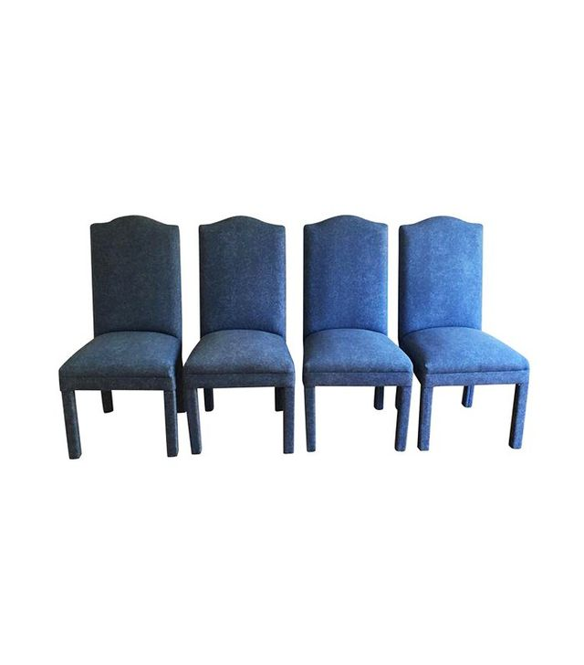 Vintage Denim Style Upholstered Parsons Chairs