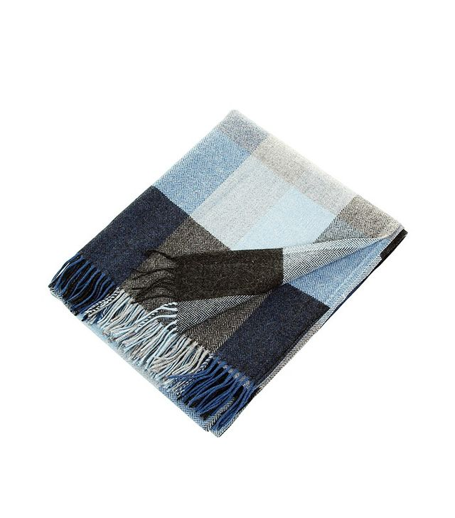 Avoca Lambswool Throw in Denim
