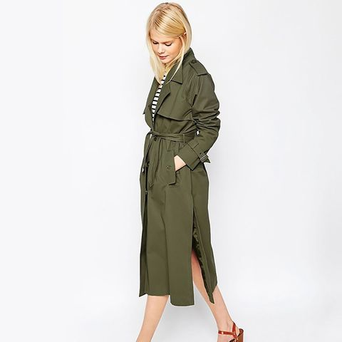 Trench in Midi Length with Pocket Detail