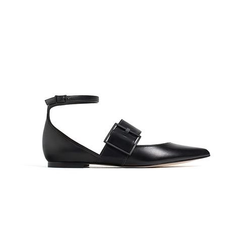 Leather Ballerinas With Buckle