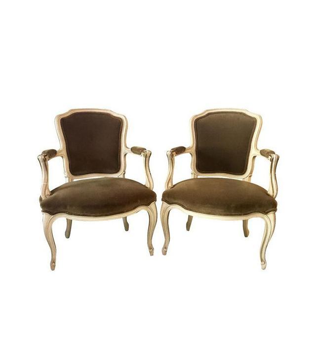 Chairish French Victorian Velvet Armchairs