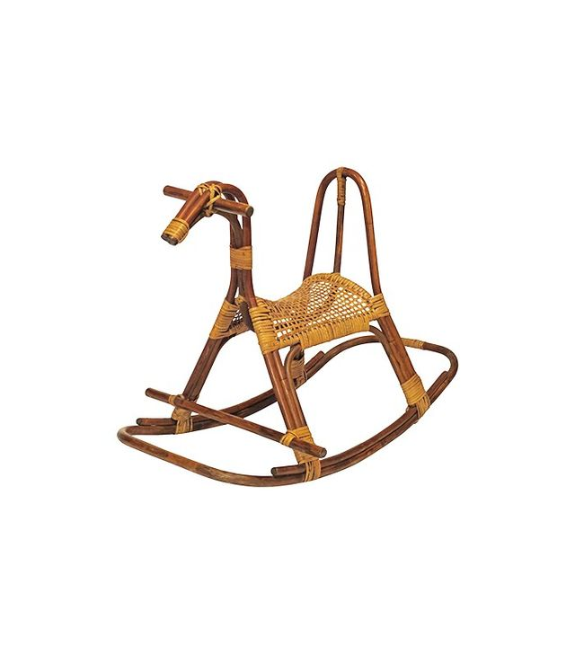 1stdibs Midcentury Cane and Rattan Rocking Horse