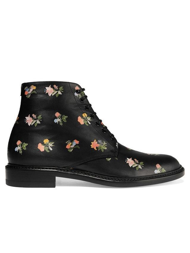 Saint Laurent Lolita Floral-Print Leather Boots