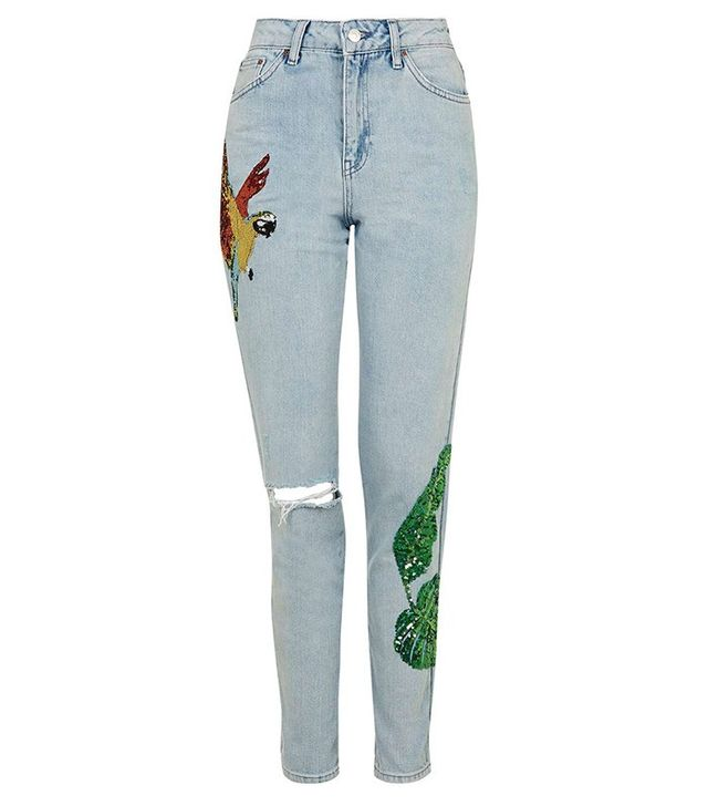 Topshop MOTO Rio Sequin Mom Jeans