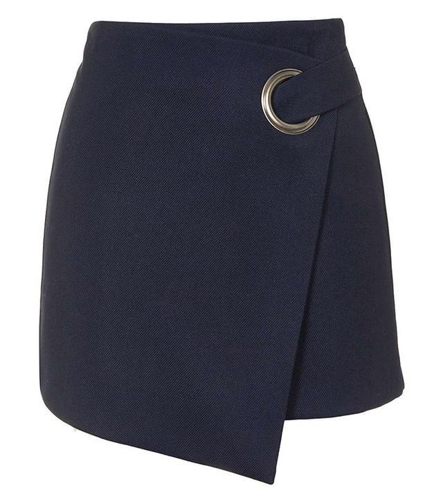 Topshop Eyelet Wrap Mini Skirt