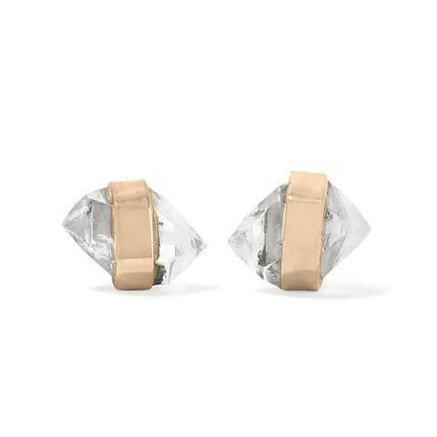14-Karat Gold Herkimer Diamond Earrings
