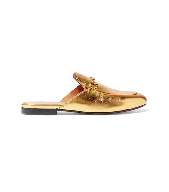 Gucci Horsebit-Detailed Metallic Leather Slippers