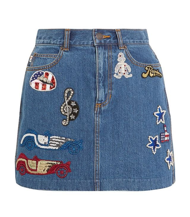Marc Jacobs Embellished Appliquéd Denim Mini Skirt