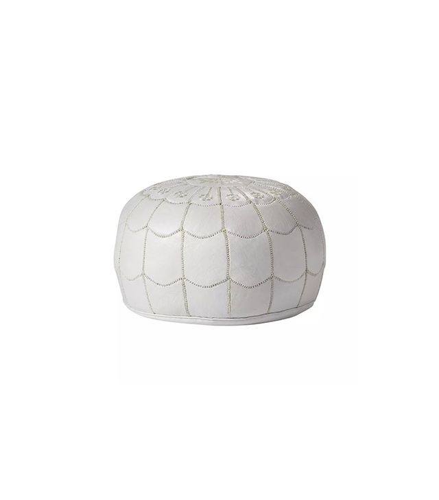 Cush and Co White Moroccan Leather Pouf