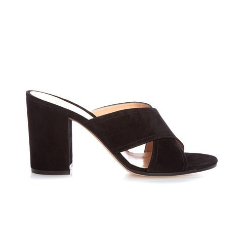 Suede Cross-Strap Mules