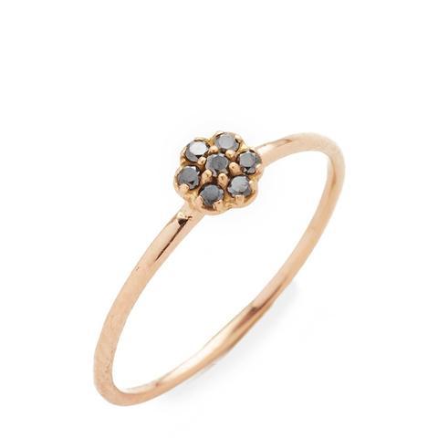 Black Diamond Small Rosette Stacking Ring