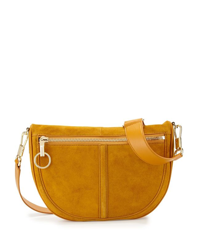 Elizabeth and James Scott Small Half-Moon Suede Saddle Bag