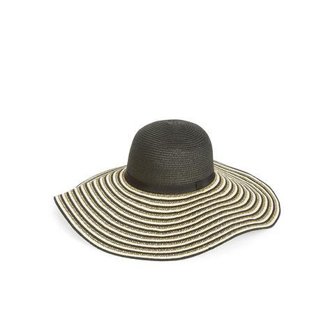 Striped Floppy Straw Hat
