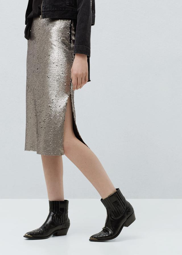 Mango Reversible Sequin Skirt