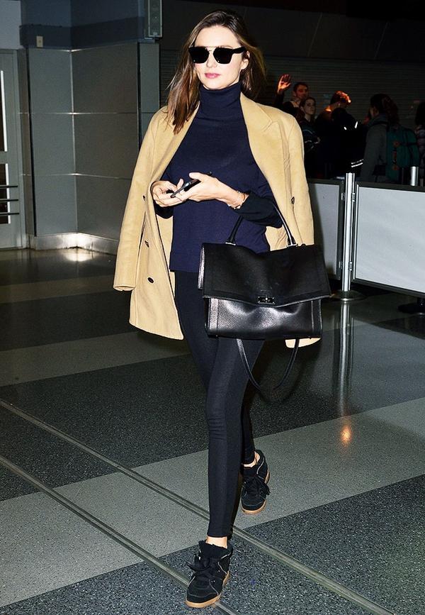 Camel Coat + Structured Bag