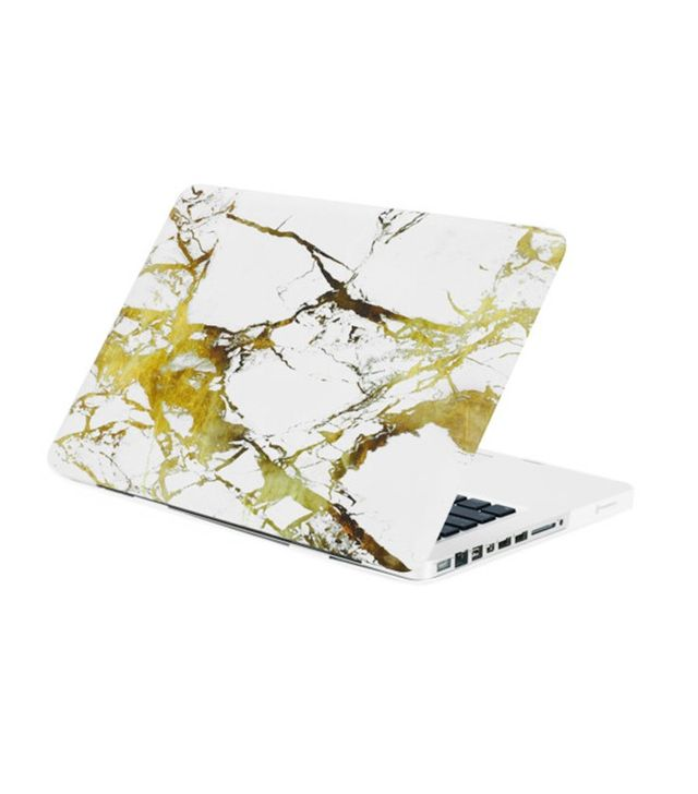 TopCaseUSA White/Gold Marble Rubberized Hard Case for MacBook Pro