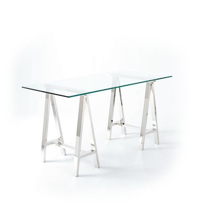 West Elm Cross-Base Polished Nickel Desk