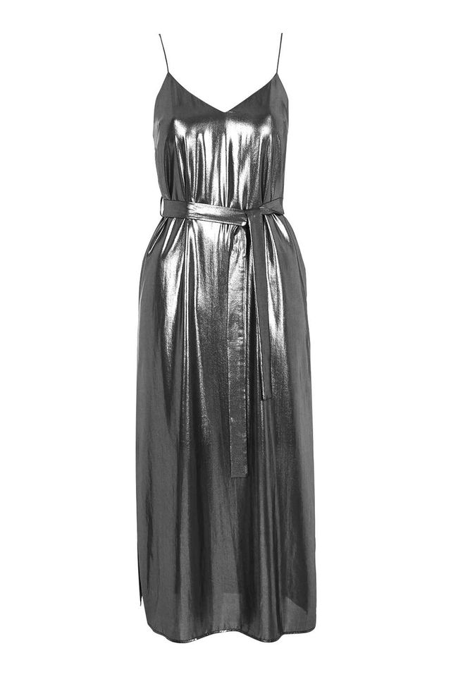 Topshop Metallic Slip Dress