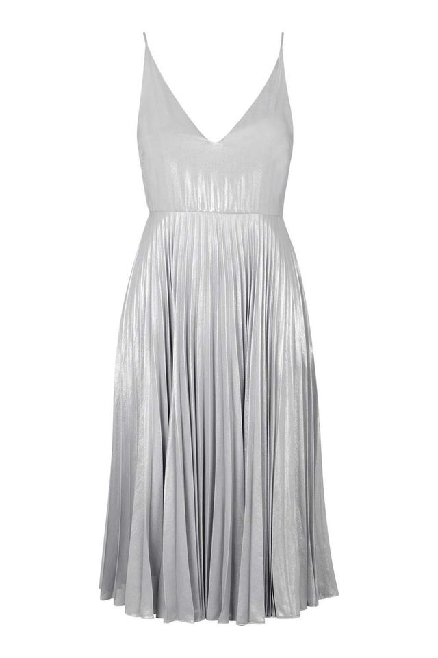Topshop Plunge Pleated Midi Dress