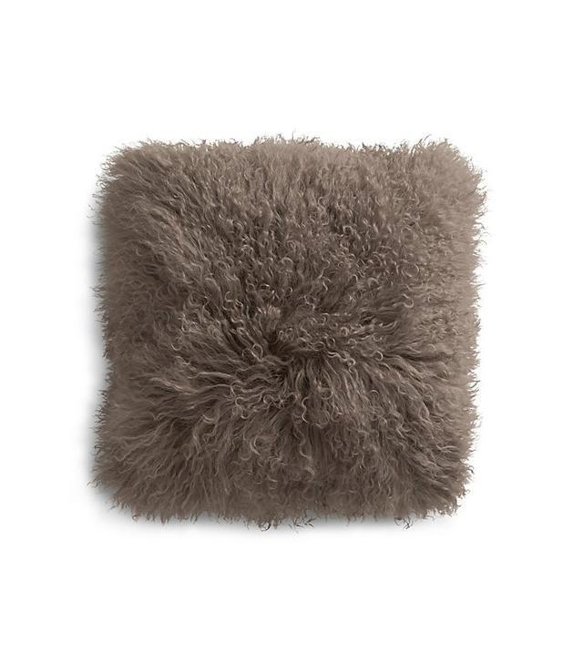 Pelliccia Mushroom Brown Mongolian Lamb Fur Pillow