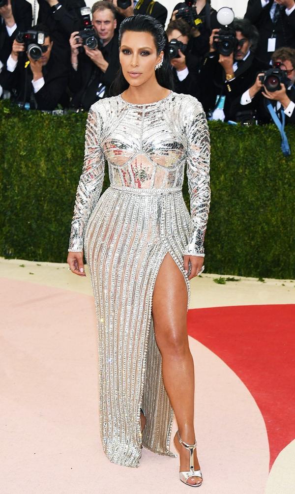 WHO: Kim Kardashian West WEAR: Balmain gown;Lorraine Schwartz jewellery.