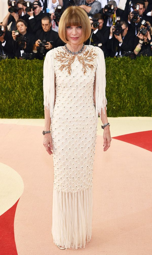 WHO: Anna Wintour WEAR: Chanel gown.