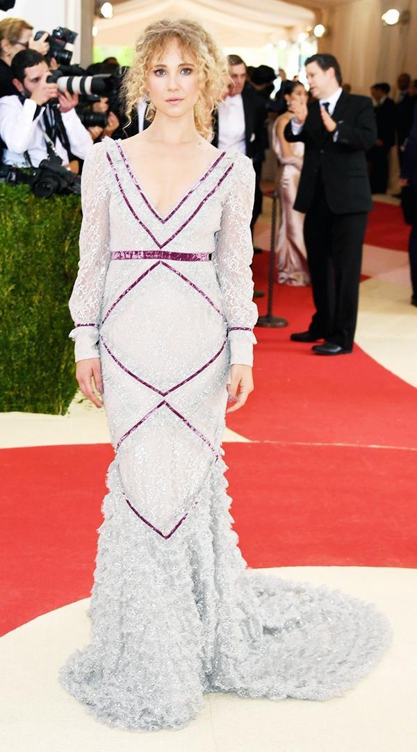 WHO: Juno Temple WEAR: Erdem gown.