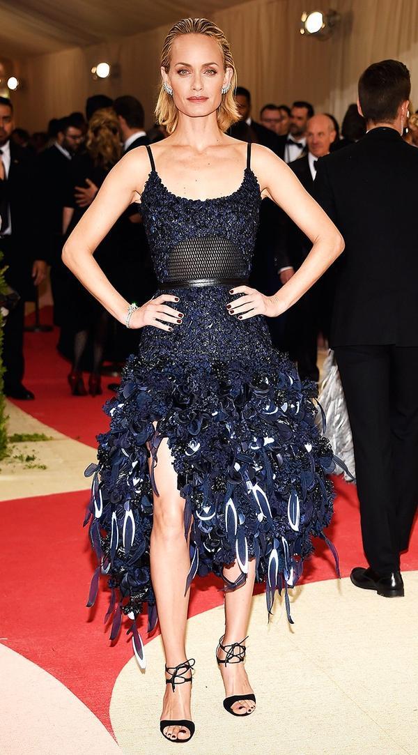 WHO:Amber Valletta WEAR:H&M dress; Gianvito Rossi heels.
