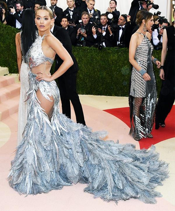 WHO: Rita Ora WEAR: Vera Wang gown.