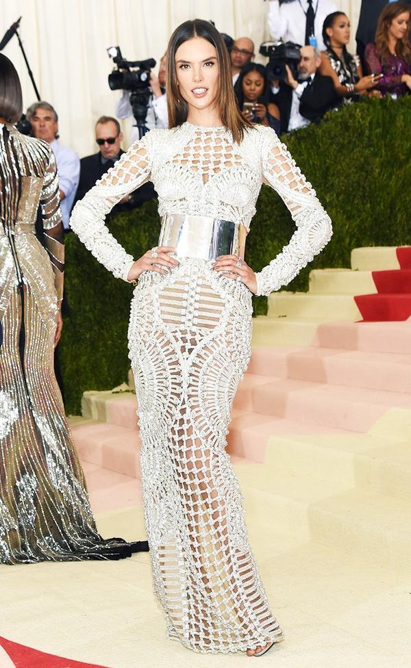 WHO: Alessandra Ambrosio Wear:Balmain gown; Giuseppe Zanotti heels.