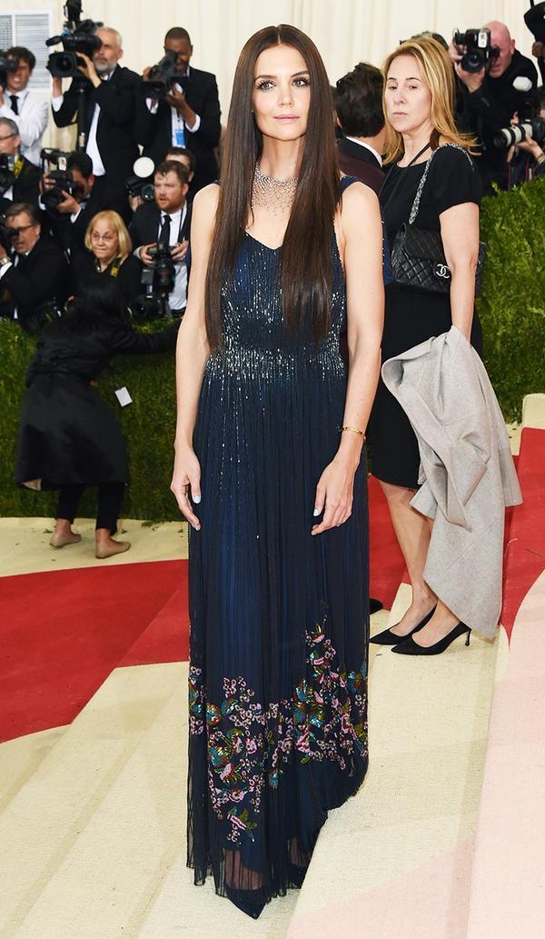 WHO: Katie Holmes WEAR: Zac Posen gown; Christian Louboutin heels.