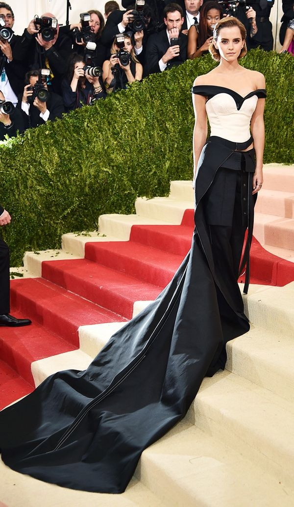 WHO: Emma Watson WEAR:Calvin Klein Collection gown; Paige Novick jewels.